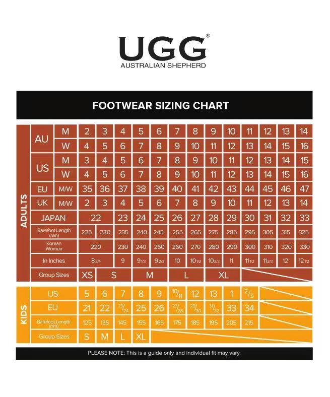 Australian Shepherd UGG size chart